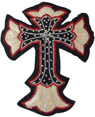 Camilla And Marc CLF 34x28 cm Size Iron On Embroidered Motif Applique Glitter Sequin Decoration Patches DIY Sew on Patch Perfect for Jeans Clothing