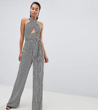 Missguided Tall Multiway Wrap Stripe Jumpsuit