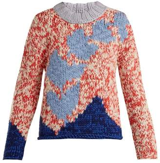 Burberry Intarsia Knit Sweater - Womens - Red