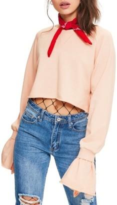 Women's Missguided Frill Cuff Crop Sweatshirt $41 thestylecure.com