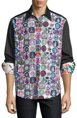 Robert Graham Ringo Starr Capsule Collection Peace Sport Short, Black Pattern $398 thestylecure.com