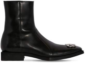 Balenciaga 20mm Bb Logo Leather Boots