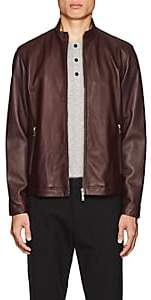 Theory Men's Morvek Leather Racer Jacket - Md. Red