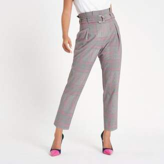 River Island Petite pink check paperbag tapered pants