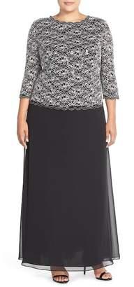 Alex Evenings Mock Two-Piece Lace & Chiffon A-Line Gown (Plus Size)