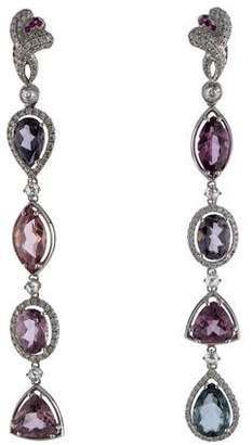 18K Diamond & Synthetic Spinel Drop Earrings