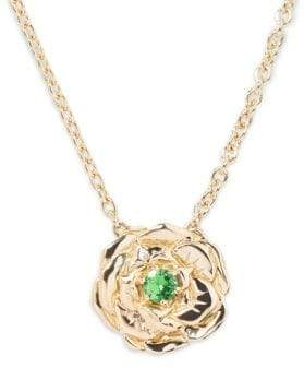 Aurelie Bidermann Green Tsavorite 18K Gold Floral Rose Pendant Necklace