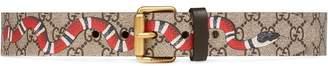 Gucci Snake print GG Supreme belt
