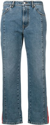 Alexander McQueen side appliqué boyfriend jeans