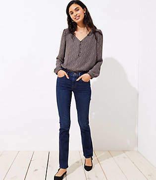 LOFT Tall Modern Straight Leg Jeans in Dark Indigo Wash