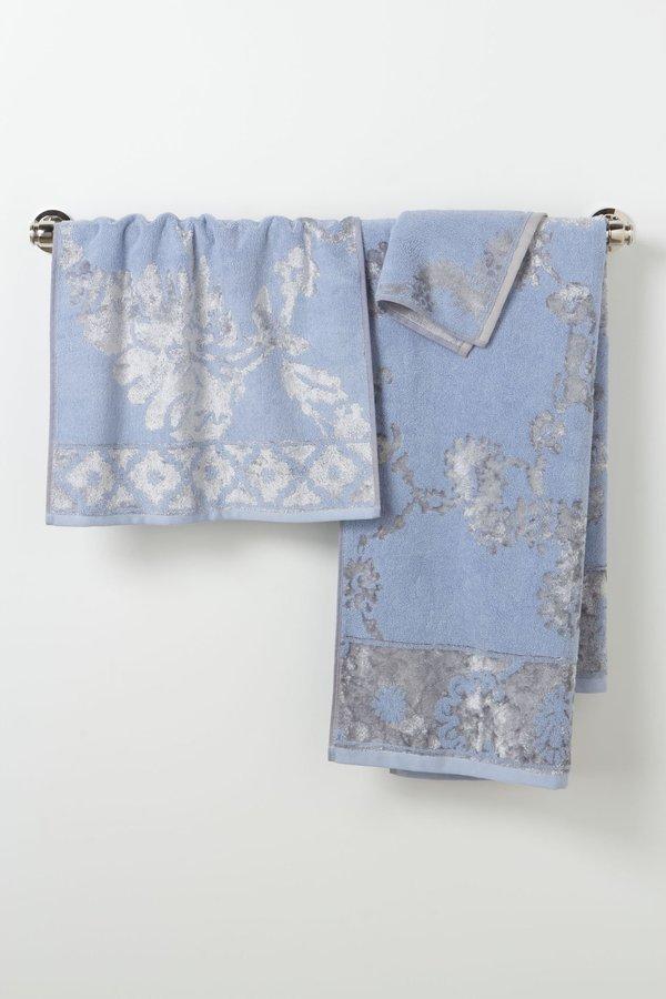 Anthropologie Velveteen Adorned Towel