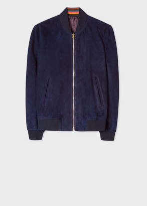 Paul Smith Men's Indigo Suede Bomber Jacket With 'Artist Stripe' Cuff Linings