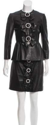 Gucci Leather Skirt Suit w/ Tags Black Leather Skirt Suit w/ Tags