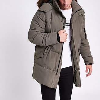 River Island Grey longline faux fur hooded parka jacket