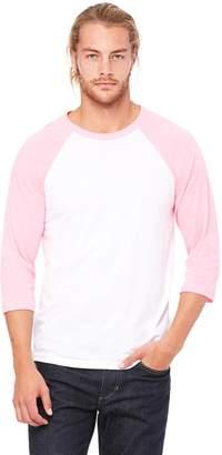 B.ella + Canvas Unisex 3/4-Sleeve Baseball T-Shirt, XS, GREY/LT RED TRIBLEND