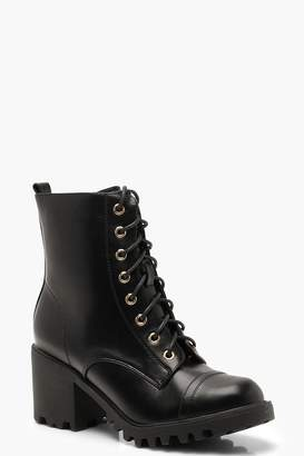 boohoo Chunky Heel Lace Up Hiker Boots