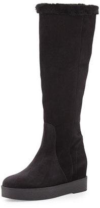 Salvatore Ferragamo Falco Shearling Fur Knee Boot, Nero $625 thestylecure.com