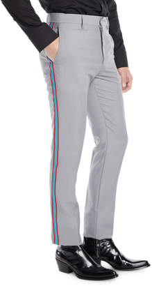 Calvin Klein Men's MWPA12 Two-Tone Side-Stripe Mohair/Wool Pants