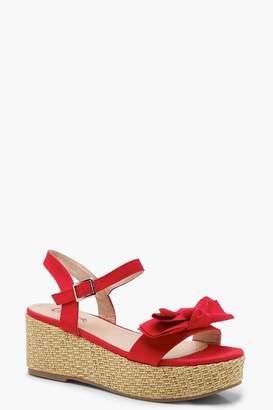 boohoo Bow Detail Espadrille Flatform Sandals