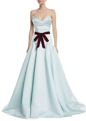 Monique Lhuillier Strapless Evening Gown with Velvet Tie-Waist and Train