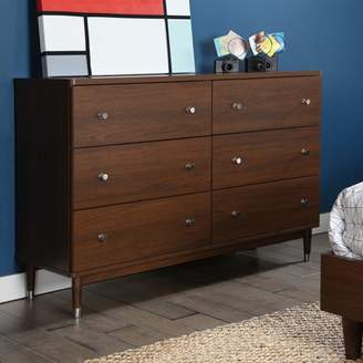 South Shore Furniture South Shore Olly Mid-Century Modern 6-Drawer Double Dresser, Brown Walnut
