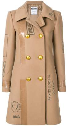 Moschino patch print double breasted coat
