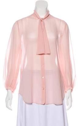 Alexander McQueen Long Sleeve Button-Up Blouse