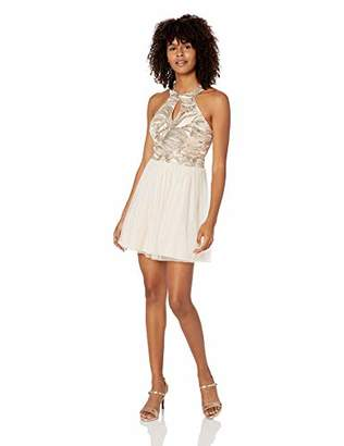 Speechless Women's Junior's Teen Mock Neck Party Dress