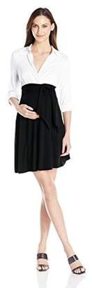 Maternal America Women's Maternity Front-Tie Combo Dress