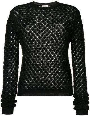 Saint Laurent glittery crochet jumper