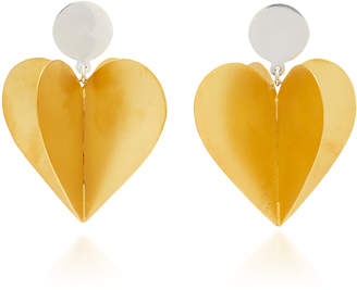 Silhouette Silver and Rhodium-Plated Enamel Double Heart Earrings