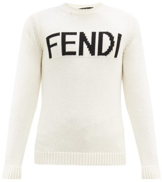 Fendi Logo Intarsia Wool Sweater - Mens - White