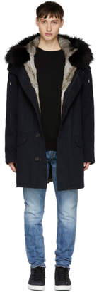 Yves Salomon Navy Fur-Lined Parka