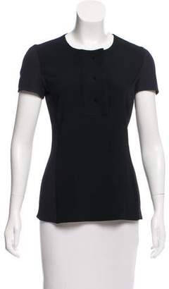 Calvin Klein Collection Knit-Paneled Short Sleeve Top