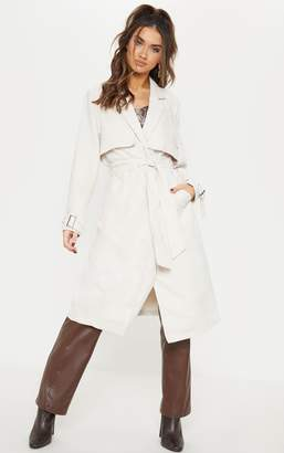 PrettyLittleThing Cream Faux Suede Trench