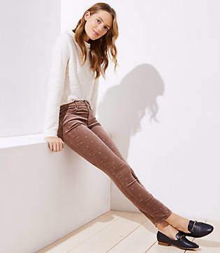 LOFT Petite Shimmer Dot Velvet Skinny Jeans