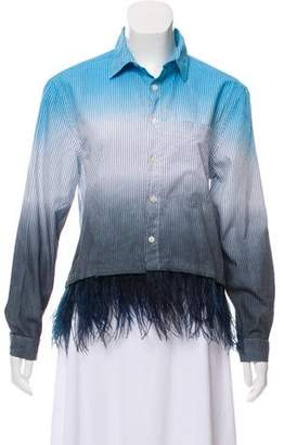 Opening Ceremony Ostrich Feather Button-Up Top