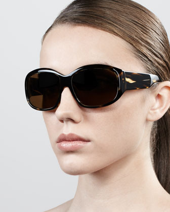 Oliver Peoples Rovella Oversized Oval Sunglasses, Black