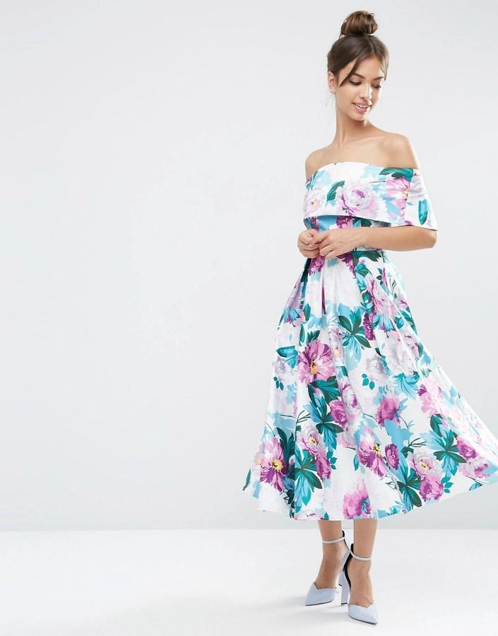AsosASOS Off The Shoulder Midi Prom Dress In Bright Purple Floral