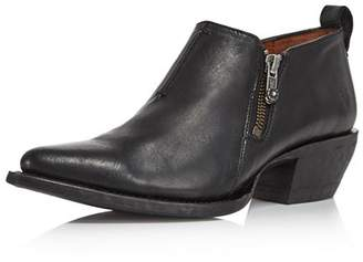 Frye Women's Sacha Pointed Toe Leather Mid Heel Ankle Booties