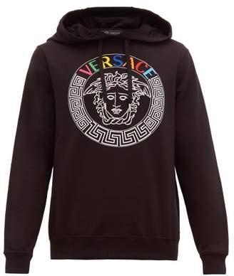 Versace Medusa Head And Rainbow Logo Embroidered Hoodie - Mens - Black