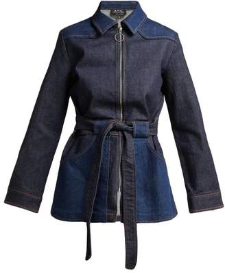 A.P.C. Belted Denim Jacket - Womens - Indigo