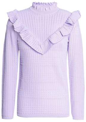 Sandro Ruffle-Trimmed Pointelle-Knit Sweater