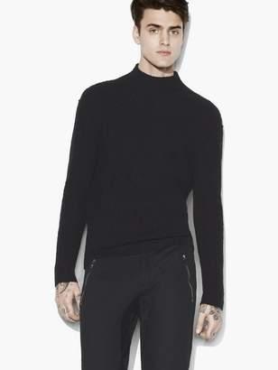 John Varvatos Mock Neck Cable Sweater