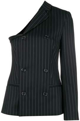 Moschino one-sleeve double-breasted pinstriped blazer