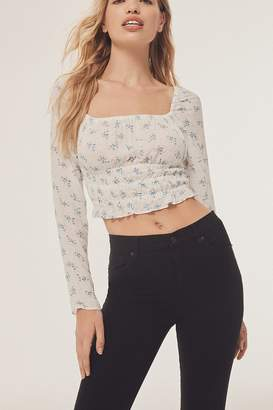 Urban Outfitters Bouquet Square-Neck Smocked Top