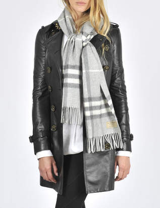 Burberry Giant Icon Check Cashmere Scarf in Pale Grey Cashmere