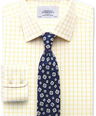Charles Tyrwhitt Classic fit non-iron twill grid check light yellow shirt