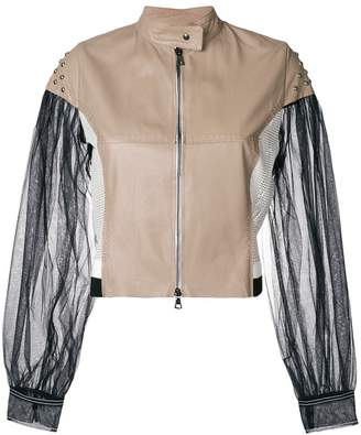 Aviu colour-block biker jacket