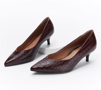 Vionic Leather Kitten Heel Pumps - Josie Croc